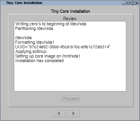 Tiny Core Linux Installation